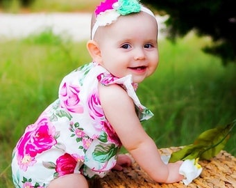 Bubble Romper Baby Floral & Rose Headband Vintage design
