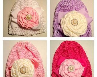 Newborn Woven Floral Dressy hat 4 colors 0-6 months