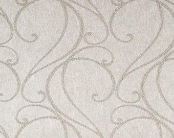 LS6158NA Brushed Silver Selena Scroll Wallpaper REAL Glass Bead Wallpaper