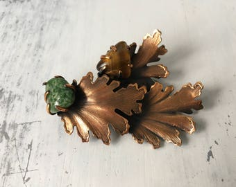 Unique Leaf Patterned Vintage Copper Brooch / Tigers Eye Stone / Jade Stone / Hat Pin / Hair Clip