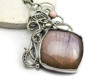 Purple labradorite wire wrap pendant, statement necklace, sterling silver jewelry, gemstone jewelry