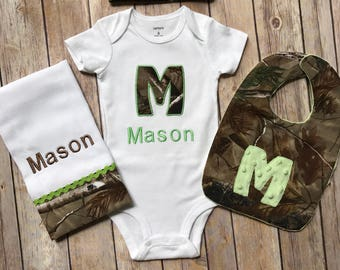 Duck deer hunter baby personalized baby gift camo baby boy personalized baby boy camo infant newborn hunting real tree hospital or homecoming mossy oak gift set negle Image collections