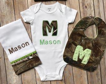 Personalized Baby Boy Camo Infant Newborn Hunting Real tree Hospital or Homecoming Mossy Oak gift set Bodysuit Hat Burp cloth Bib