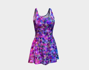 Tri Pink Purple Skater Dress | Size XS S M L XL | Bold Design Pattern | Dancing Ice Roller Skating | Short Fitted Sleeveless Mini Dress