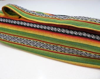 NEW XL Yoga Bag - Exercise mat bag - green yellow orange and black striped with Large velcro pocket