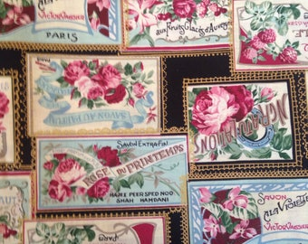 Romantic Cotton Quilting Fabric Roses France Vintage Cards Valentines