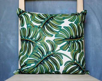 rifle paper co pillow cover, monstera throw pillow cover, botanical decor, plant pillow cover 16x16, tropical decor, botanical pillow