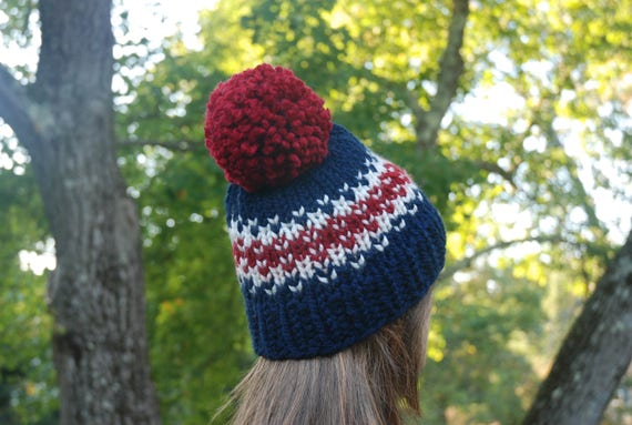 Red White Blue Fair Isle Knit Hat Fair Isle Hat Navy Knit