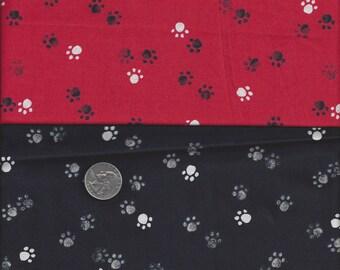 Adopt Me Take Me Home Rescue Me I Spy Paw Print Fabric Fat Quarter Red Black