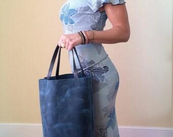 summer sale Sale-Blue Leather Spring Tote -  Distressed Leather Tote Bag , Market Bag , Everyday Bag