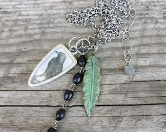 raven crow necklace | black bird green feather necklace | vintage dictionary image pendant