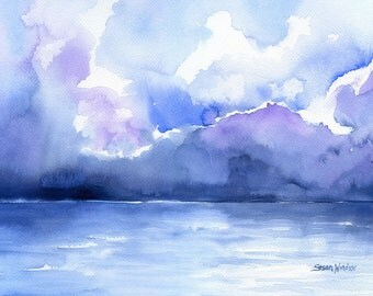 Abstract Ocean Watercolor Print 36x24 Poster
