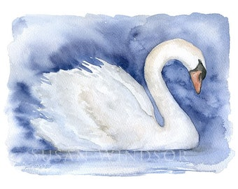 Swan Watercolor Painting - 7 x 5 - Giclee Print - Bird Painting - Bird Watercolor