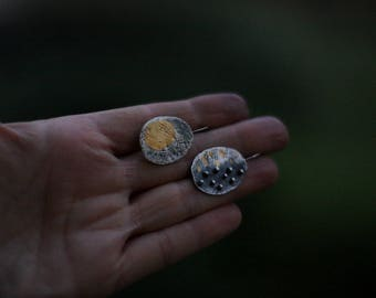 Patches of light - oxidized sterling silver and 24kt gold earrings - made to order