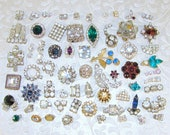 60 Pc LOT Small Little Bits Filler Layer Pieces Rhinestone Vintage Craft Jewelry Backs Removed Hair Headband Mosaic Crafts Single Earrings