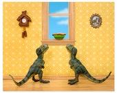 T. Rex twins dinosaur decor art print: Primordial Pie