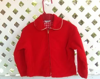 Toddler Jacket Size 24 M Toddler Girl's Jacket Flannel Jacket 70's Jacket 60's Jacket Red Corduroy Jacket Vintage Kid Clothes Peter Pan