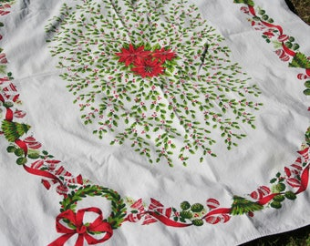 Vintage Christmas Tablecloth Printed Holly, Wreaths, Ornaments, Trees 52 x 64 inches