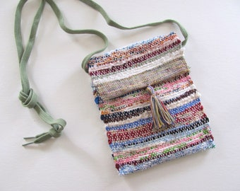 Small Crossbody Wallet Phone Purse, Rainbow Mix Cross Body Shoulder Bag Cash Change Pouch, Recycled Upcycled Artisan Woven Fabric Hand Bag