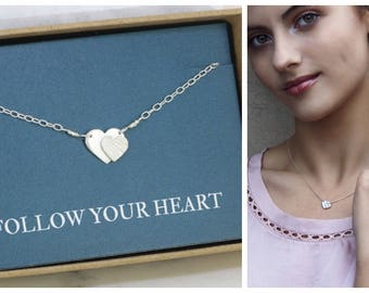 Double heart necklace silver, heart necklace, Christmas gift for daughter, mother daughter, girlfriend gift - Carys