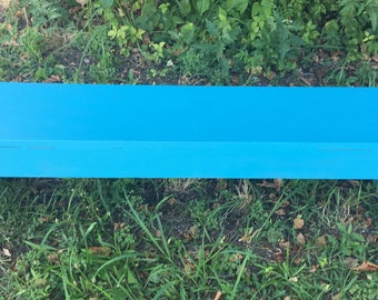Notched Turquoise Chalk Paint 4' Bench