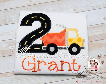 Second Birthday Boy Shirt - Dump Truck Embroidered Shirt - Custom Baby Boy 2nd Birthday Outfit - 2 Years Old Boy - Second Birthday Outfit