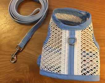 Small Dog Harness and leash set Breathable white mesh, Made in USA, dog harnesses, pet clothing, wedding dog harness
