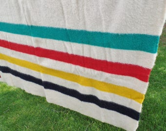 "Vintage Trapper Point WOOL BLANKET Made In England 4 Point 87"" x 68"" Nice!"