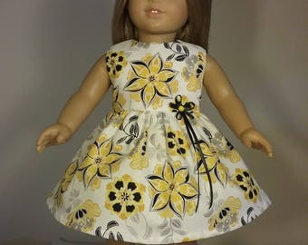18 inch Doll Clothes Handmade Yellow & Black Flower Print Dress fits American Girl Doll Clothes