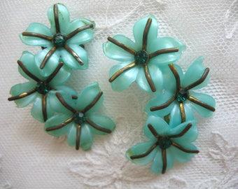 Vintage Soft Plastic & Rhinestone Earrings ~ Turquoise ~ Clip On ~ Ear Climbers