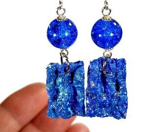 Artsy Earrings, Blue Dangle Earrings, Lightweight Blue Earrings, Cobalt Blue, Fiber Art Jewelry