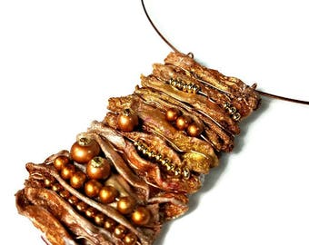 Brown, Copper Statement Necklace Pendant, Fiber Art, Eco Chic Jewelry, Eco Friendly, Repurposed Recycled Upcycled