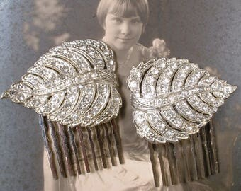 OoaK PAIR 1920s Flapper Rhinestone Leaf Bridal Hair Combs, Vintage Art Deco Silver Pave Original Dress Clips to Wedding Hair Piece Accessory