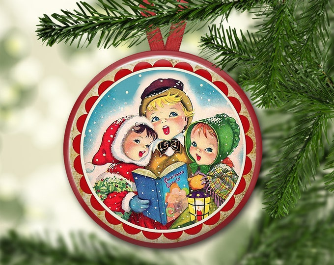 """3.5"""" holiday ornaments for tree - vintage christmas tree decoration - holiday refrigerator magnets for the kitchen - kitchen decor ORN-50"""