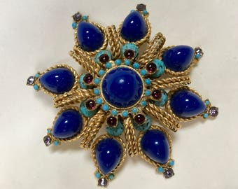 Huge Layered Dome Shaped Moghul Jewel Encrusted Exotic Brooch – 1970s Costume Jewelry