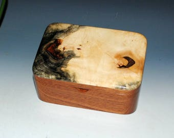 Small Wood Box With Tray - Buckeye Burl on Mahogany -Desk Box,Jewelry Box or Gift Box-Handmade Wooden Boxes by BurlWoodBox - Burl Wood Box