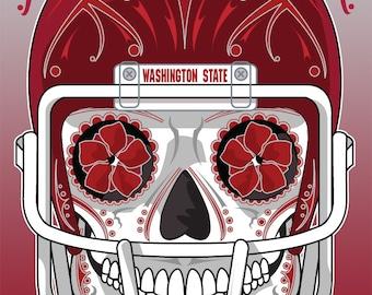 Washington State Football Sugar Skull 11x14 Print