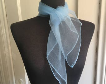 Vintage Sheer Nylon Scarf, Sky Blue Chiffon Scarf, Light Blue, 50's 60's Style, Rockabilly, Pin Up, Head Scarf, Neck Scarf, Hair Scarf