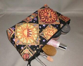 Cosmetic Bag - Makeup Bag - Large Zipper Pouch - Sun - Moon - Stars - Zodiac