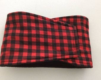 Male Dog Diaper - Dog Belly Band - Red and Black Checks - Available in all Sizes