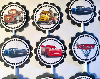 "30 Disney Dimensional  ""Cars 3"" Cupcake Toppers *Ready to Ship*"