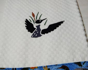 Kitchen Towel,  Embroidered Loon Towel,  Hand Towel, Terry Towel, Lake Living