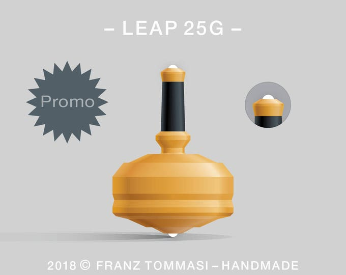 LEAP 25GYellow – Precision handmade polymer spin top with dual ceramic tip and rubber grip