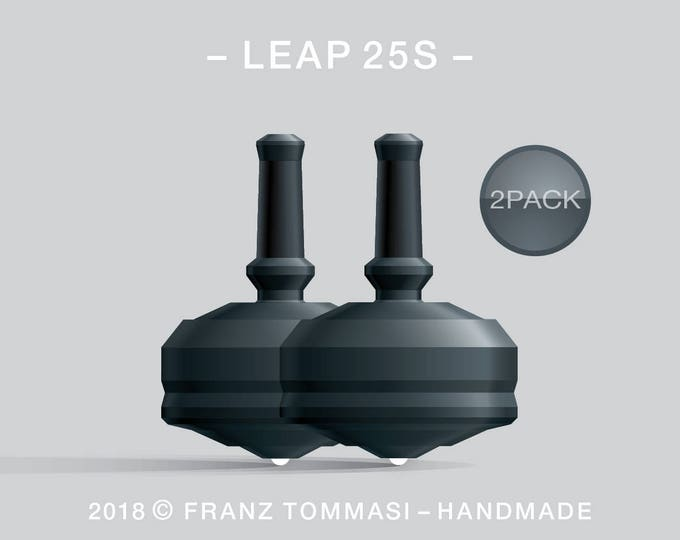 LEAP 25S 2PACK Black – Value-priced set of precision handmade spin tops with ceramic tip and integrated rubber grip