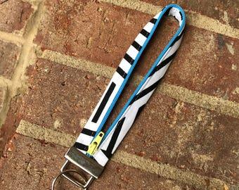 Zipper Key Fob, Key Fob, Wristlet Keychain, black white, Keychain, Fobio Key Fob, Wristlet Key Fob