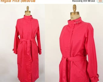 red trench coat - 80s jacket - Rodier Paris - fall spring rain- medium large