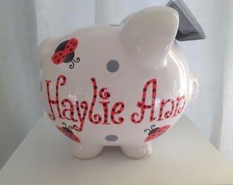 Personalized Large Red Ladybug, polka dots Birth Announcement Piggy  Bank Newborns , Birthday,Girls,Flower Girl,Baby Shower Gift Centerpiece
