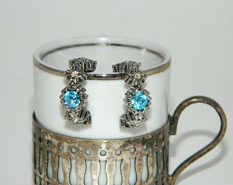 Silver Tone Earrings with Aquamarine Blue Rhinestone