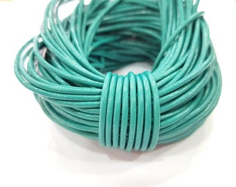 Leather Turquoise Cord 1mt-3.3 ft (2mm) Round Leather Lacing G7992