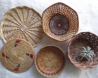 Boho Wall Basket Collection, Set of 5, Modern Boho Decor, Vintage Wicker Baskets, Rattan Decor, Rustic Decor, Boho Gallery Art